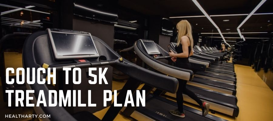 Woman running for 5K on a Treadmill