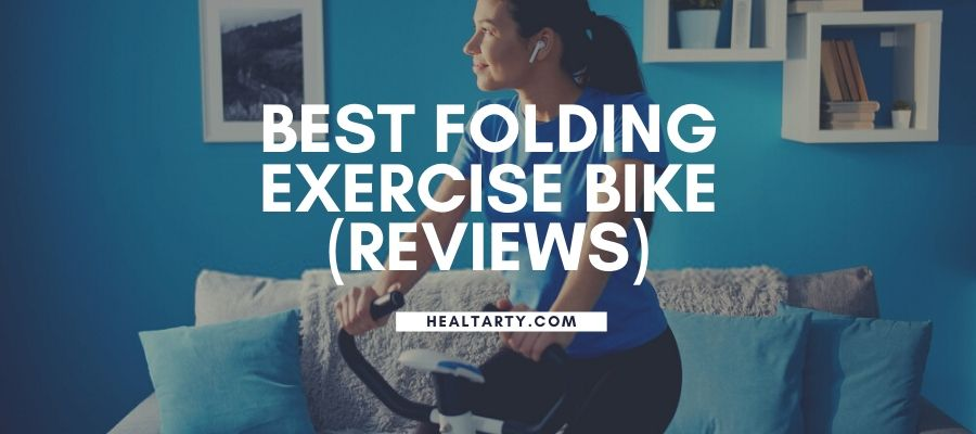 white woman working out on the best folding exercise bike