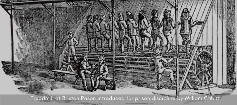 Treadmill at Brixton Prison introduced for prison discipline by William Cubitt