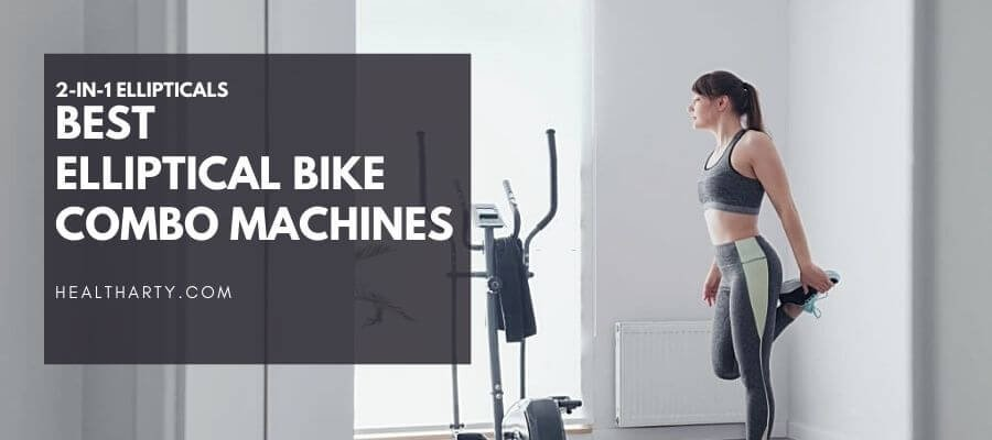 Woman About to Workout on Elliptical Bike Combo Machine
