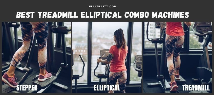 A girl working out on treadmill elliptical combo machine
