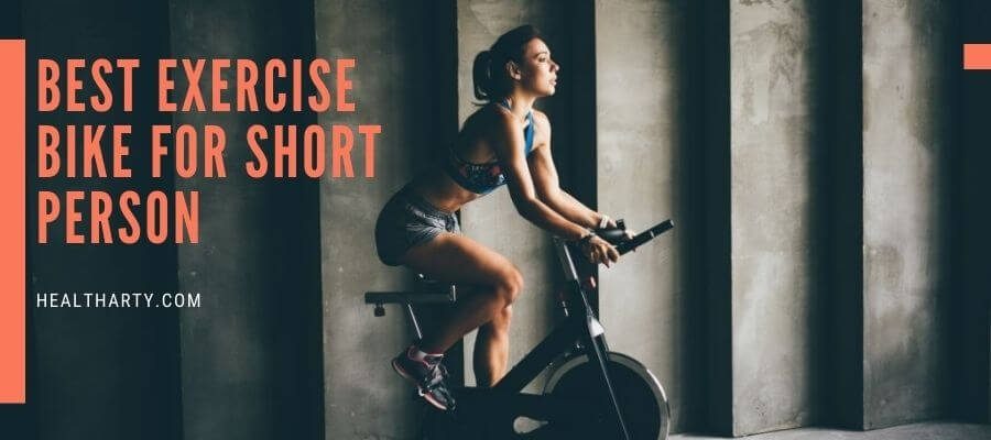 white woman riding on the Best Exercise Bike for Short Person